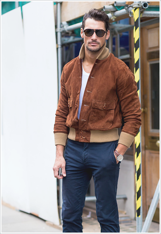 David Gandy // Focus: His suede bomber, t-shirt, and chinos combo!