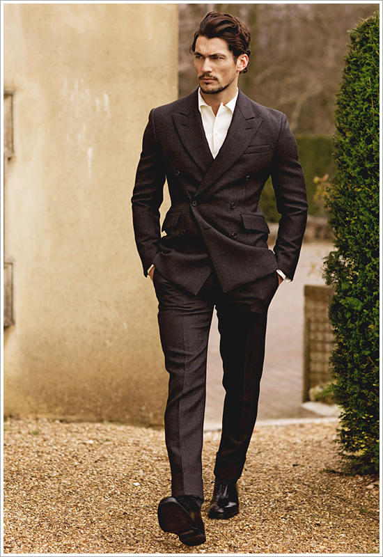 Focus: David Gandy skips the tie and embraces his high-peak lapels, double-breasted                                      suit in a pair of chelsea boots!
