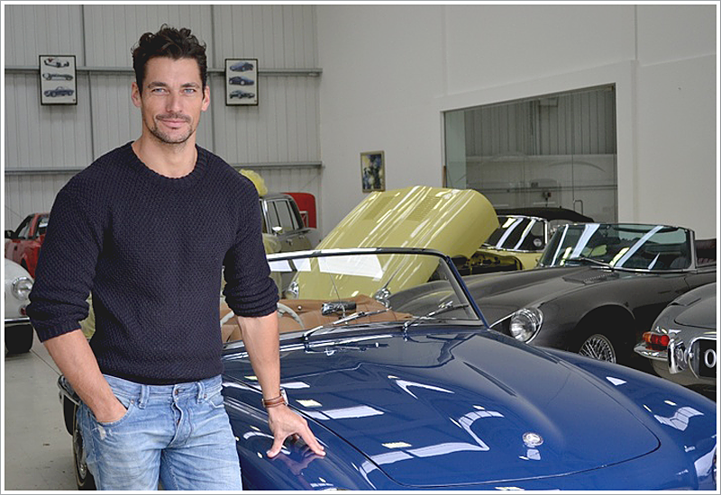 Even on weekends, The Gandy sports a waffle-knit with light-washed jeans next to a vintage car.                                          Lifestyle enhancements done right.