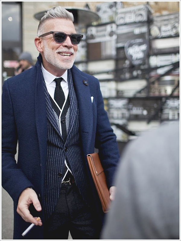 Nick Wooster at Pitti Uomo // Focus: The long silhouette his coat gives to his overall attire.