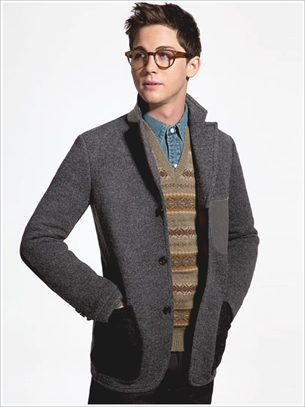 "Logan Lerman for Mr. Porter // Focus: owning that ""ugly sweater"" the best way possible."