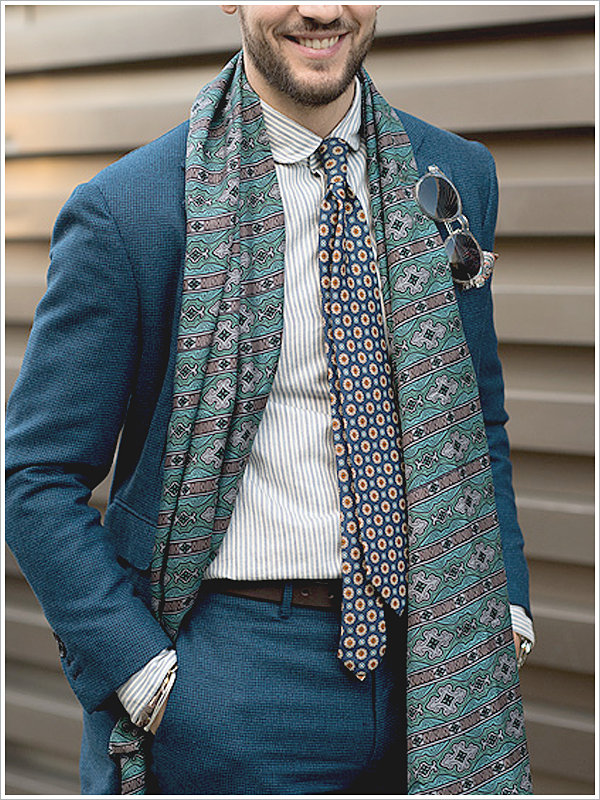 Pitti Uomo // Focus: Drape your scarf and play with patterns to mold the perfect silhouette.