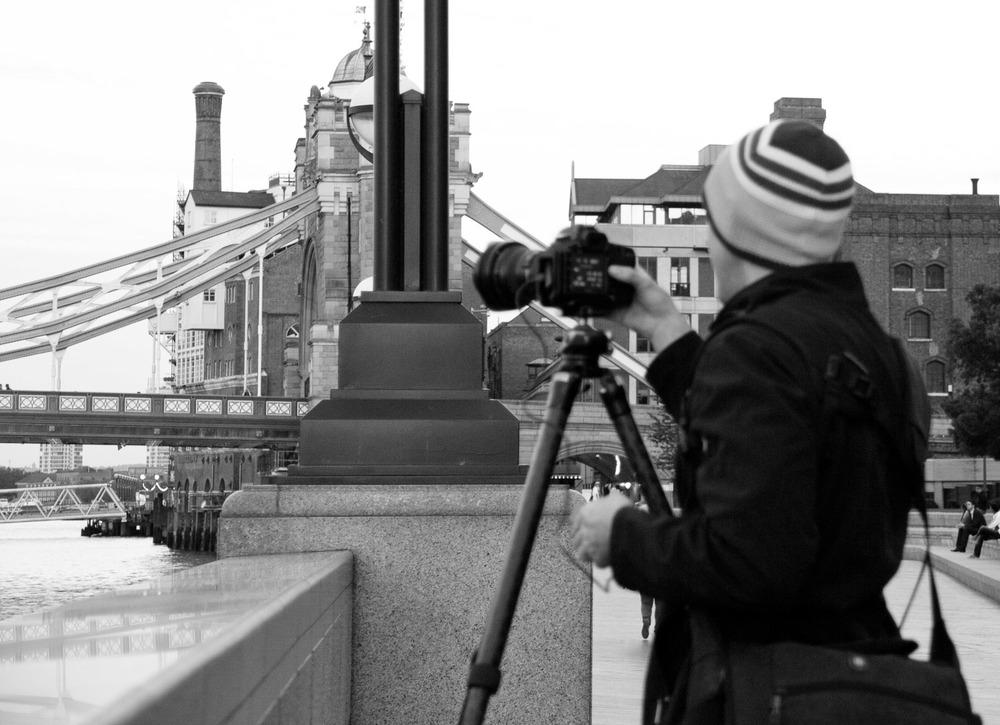 Me shooting by Tower Bridge : Photo credit Jennifer Gunther