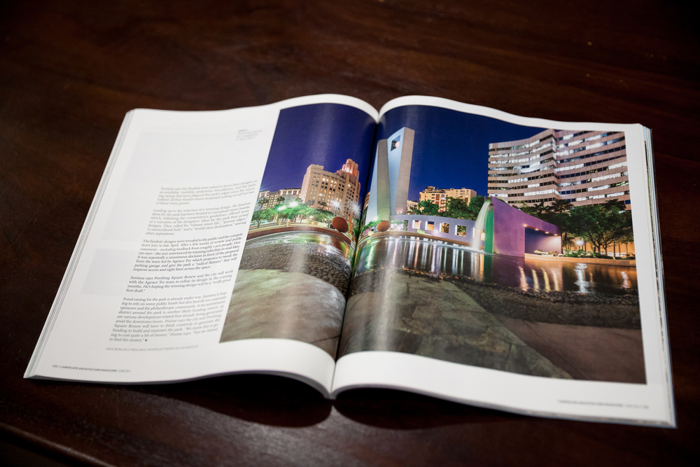 My image in the Pershing Square article in June Landscape Architecture Magazine