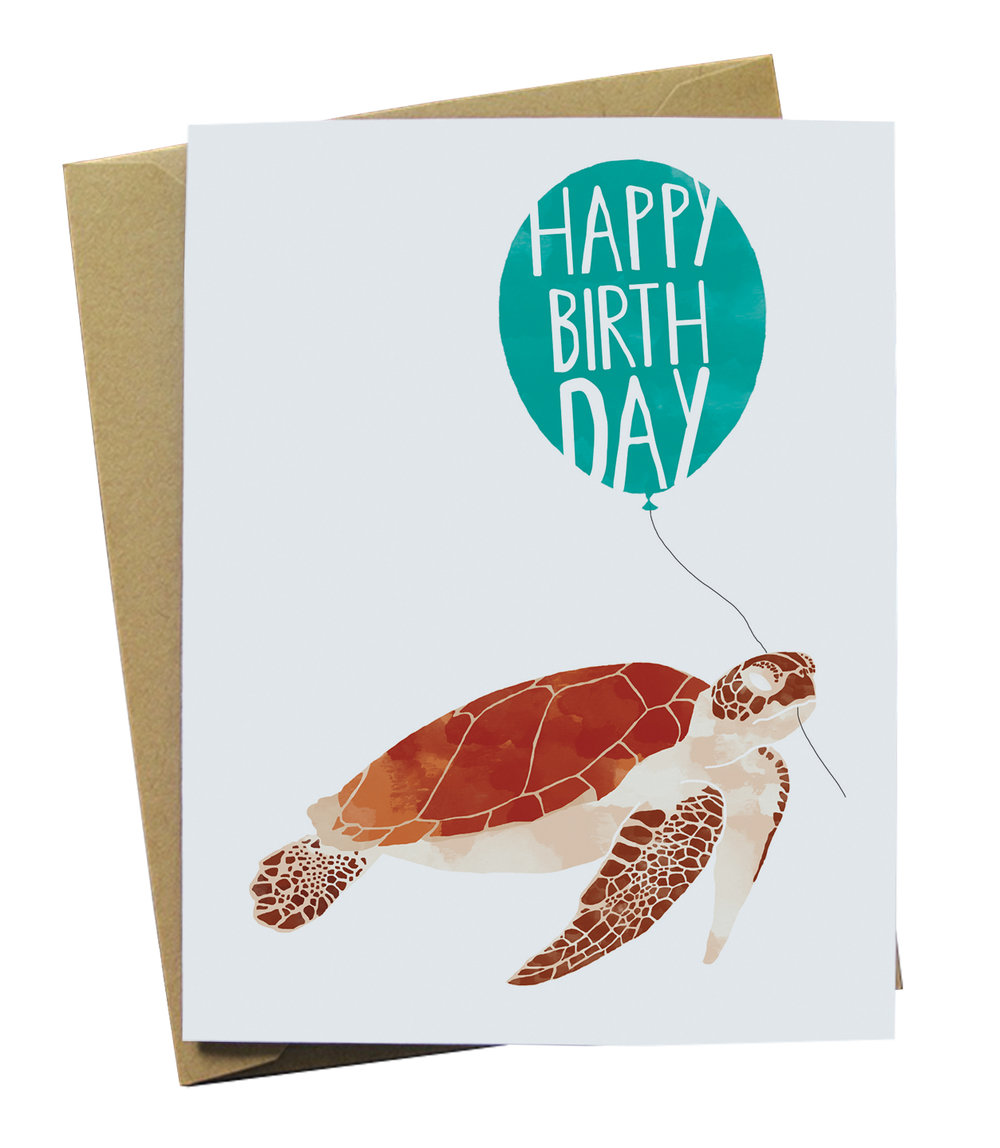 Happy Birthday Sea Turtle Paper Wolf Design