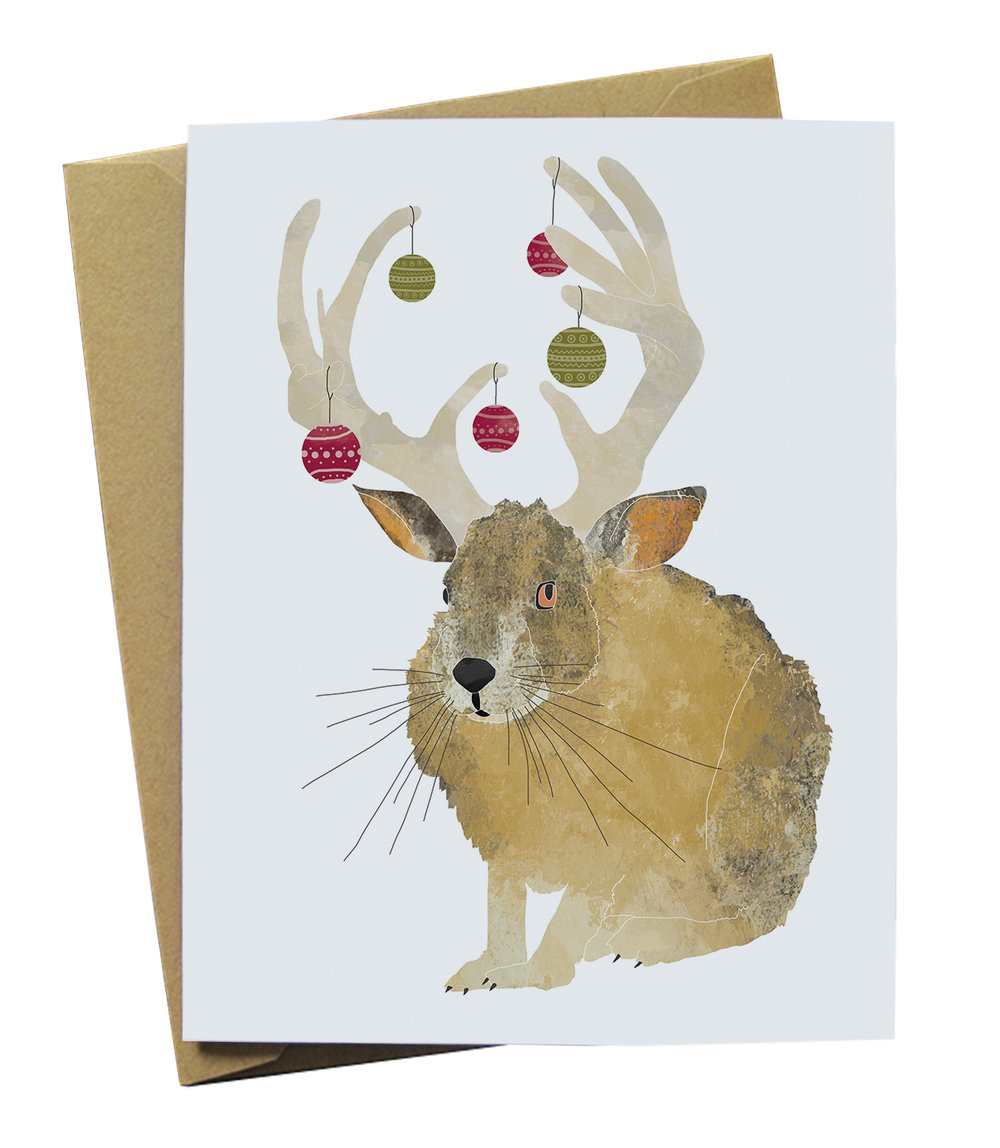 jackalope with ornaments paper wolf design