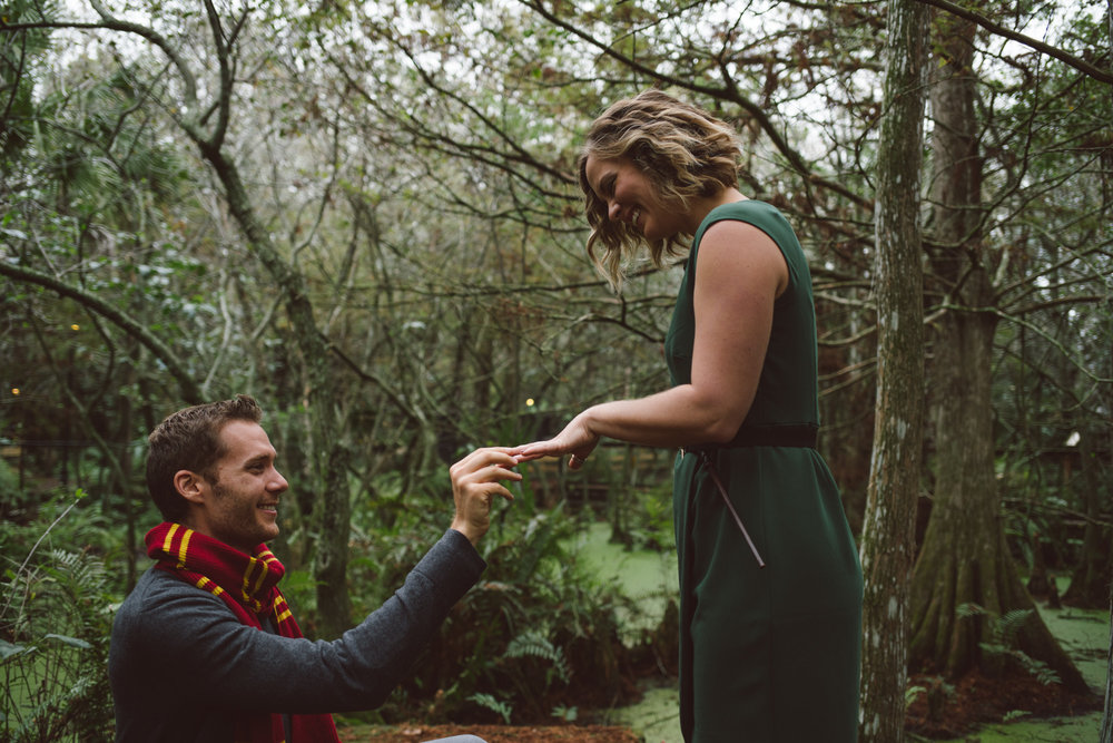 Harry Potter Engagement Session, Busch Wildlife Sanctuary Jupiter, Florida. Guy asking his girlfriend to marry him, be his wife.