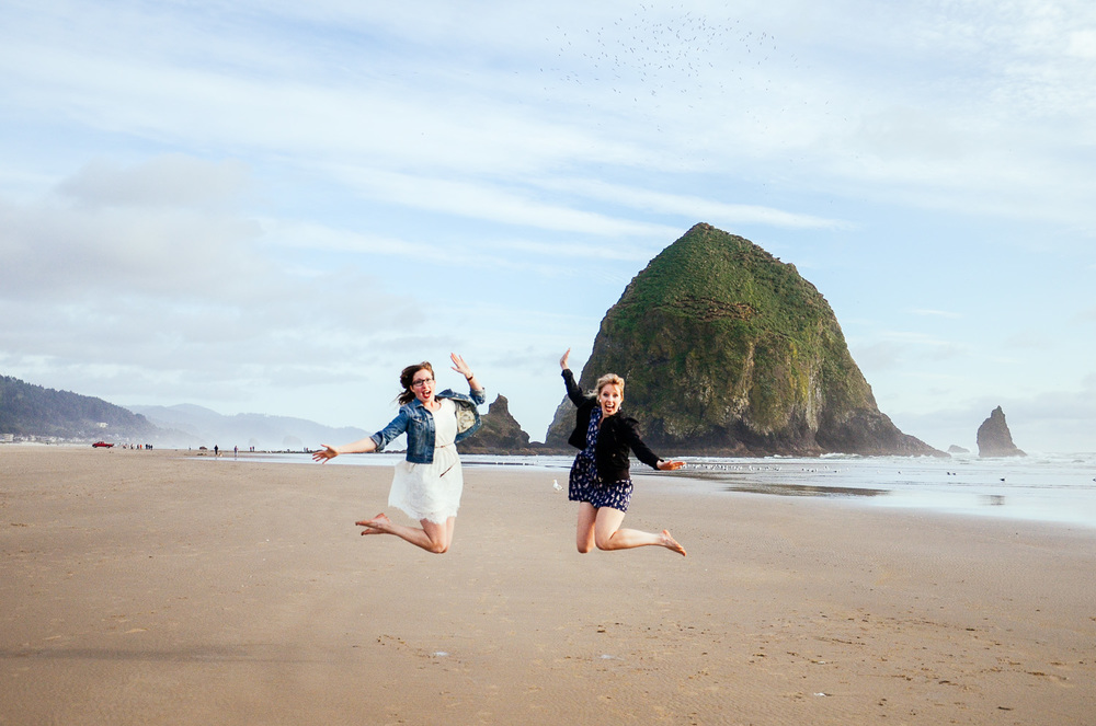 Yes this is a super corny jumping picture by Haystack Rock at Cannon Beach, but I LOVE IT!!!