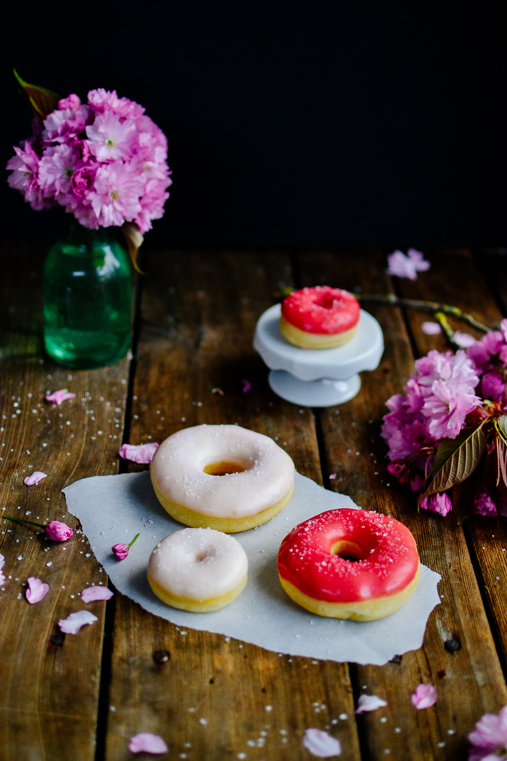 Lemon Doughnuts with Raspberry Glaze