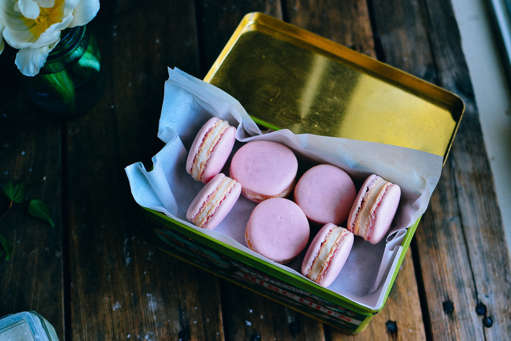 Raspberry Macarons with Coconut Butter Cream Filling