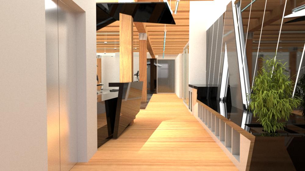 Entry & Reception Concept, view towards Locker Room