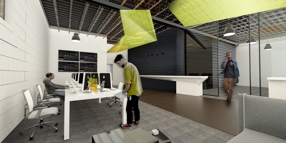 """CONCEPT SKETCH OF OPEN OFFICE LOOKING TOWARDS SCREENING ROOM: A black, textured wood runway also connects the structures, running along the """"black box"""" screening room, which would be clad in charred wood planks [Shou Sugi Ban]. The open plan editor suite bench office system allows for future expansion."""