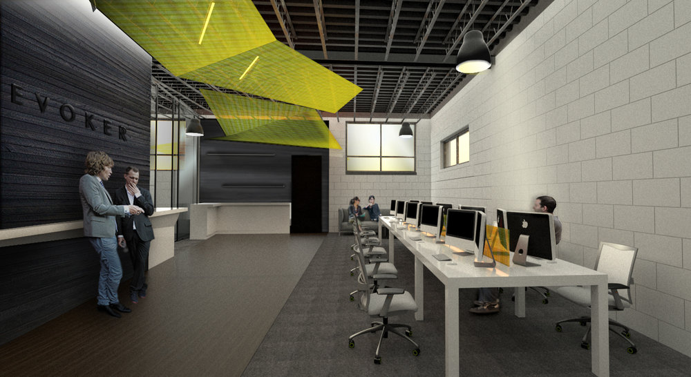 BLACK BOX SCREENING ROOM + OPEN OFFICE: Angular suspended ceiling planes back-lit with linear architectural LED lighting define wayfinding throughout the space, connecting administrative and editor suites.