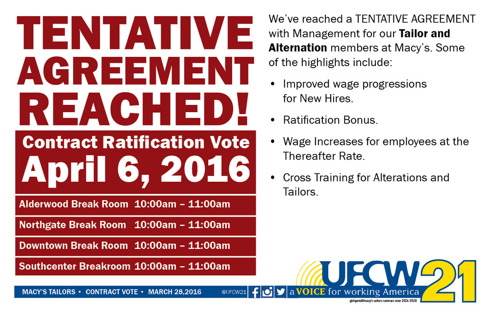 Macys Tailors Contract Ratification Vote Ufcw 21
