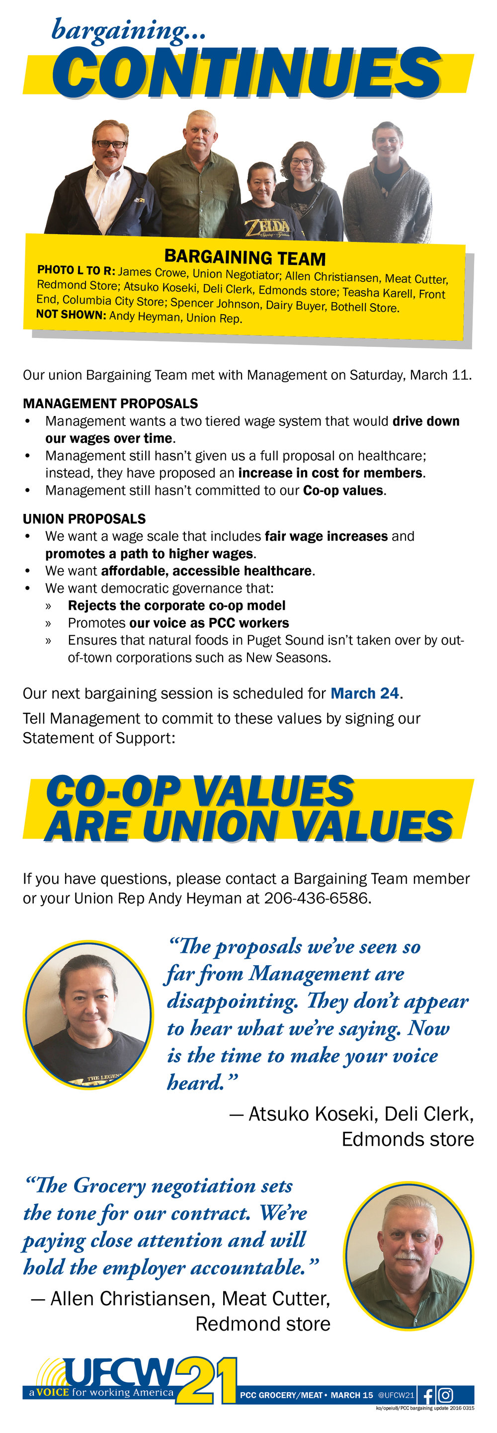 news updates ufcw 21 pcc grocery meat bargaining continues
