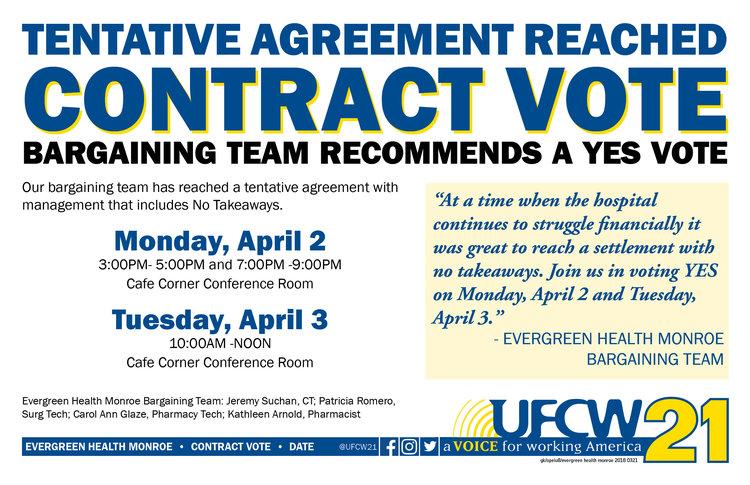 Evergreen Health Monroe Contract Vote Ufcw 21