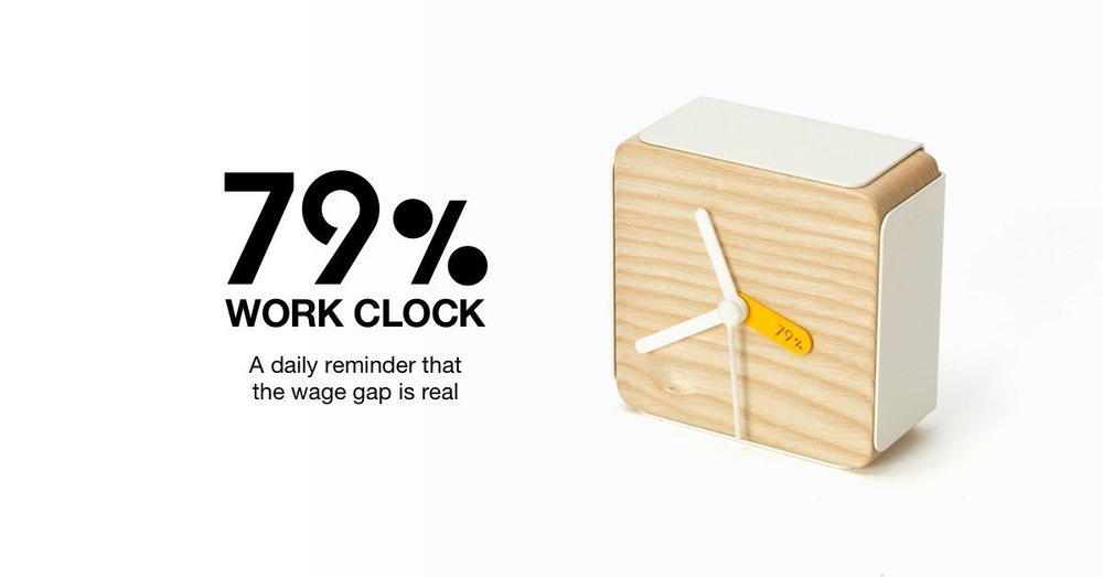 This is an alarm clock that goes off once 79% of the day is done so women can go home.  fucking obsessed.  Read more  here .