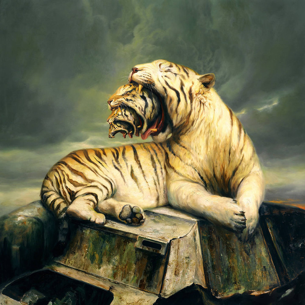 MARTIN WITTFOOTH   Martin Wittfooth  paints commanding portraits of majestic animals, gloriously detailed, true to life, so close you could reach out and touch them. Except their settings aren't the natural National Geographic landscape you'd expect. There's a rhinoceros resting near a submarine base. A huge  horned bull  perched on a steel beam high above a city. A polar bear in a field of poppies, with a helicopter nearby. The animals are stand-ins for humans, existing in a man-made environment with no actual humans still around, and suffering the consequences of man's environmental manipulation. [4]  Behind the pleasing image of a perfectly executed portrait lurks destruction and waste,  disconnection and ruin.