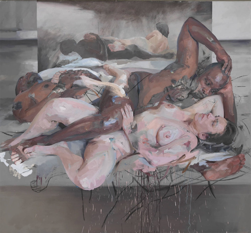 """Flesh is just the most beautiful thing to paint,""  Jenny Saville  says, [2]  and her work is indeed one big showcase of voluptuous, vulnerable human flesh. The formality of her figurative paintings would have you believe that Saville means to leave it at that: a stunning panorama of naked bodies. But what makes flesh so imperfectly human is its flaws, and in these paintings the flaws are arrayed like a  secret treasure map the artist creates to lead us across expanses of familiar, and sometimes not so familiar, territory. The effect can be staggering."