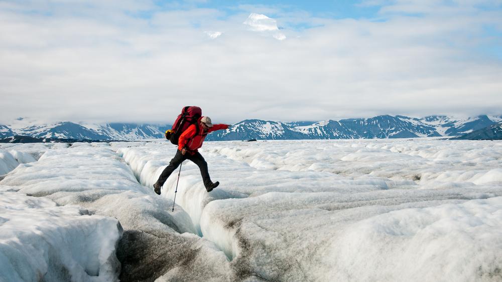 Malaspina Glacier Crevasse Leap