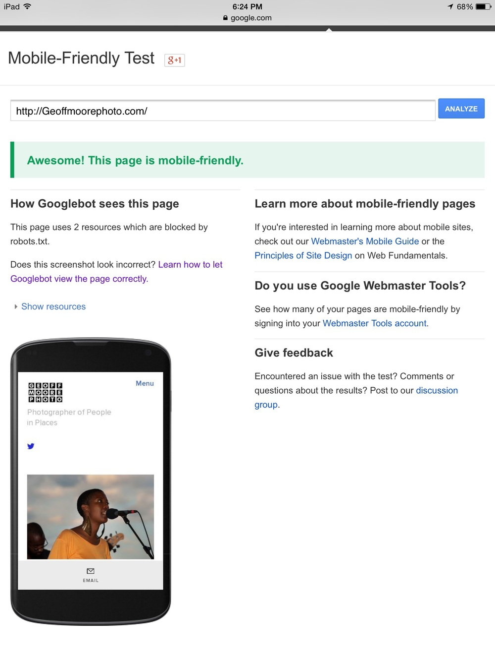 Squarespace website tested for mobile friendly suitability.