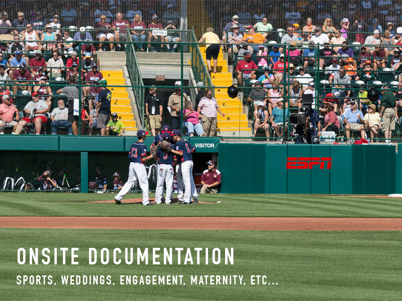 ONSITE DOCUMENTATION PHOTOGRAPHY - SPORTS, WEDDINGS, ENGAGEMENT, ETC...