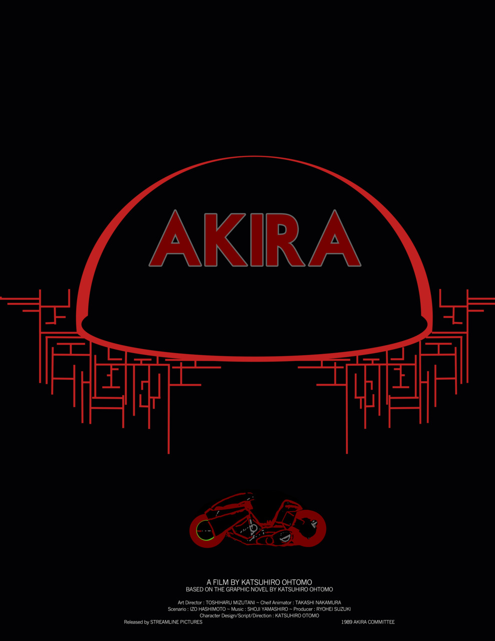 My attempt at graphic design haha, AKIRA, awesome animated film! Check out the  trailer    Hommage to  Olly Moss