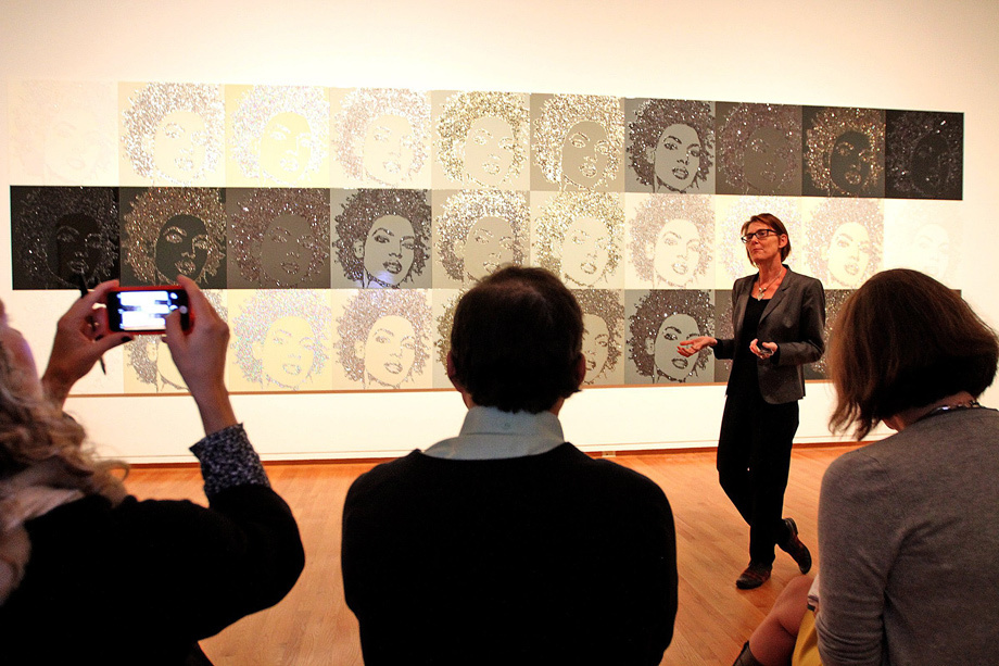 "Catharina Manchanda, Seattle Art Museum Curator of Modern and Contemporary Art, explains the thought behind artist Mickalene Thomas' work, ""Hair Portrait."""
