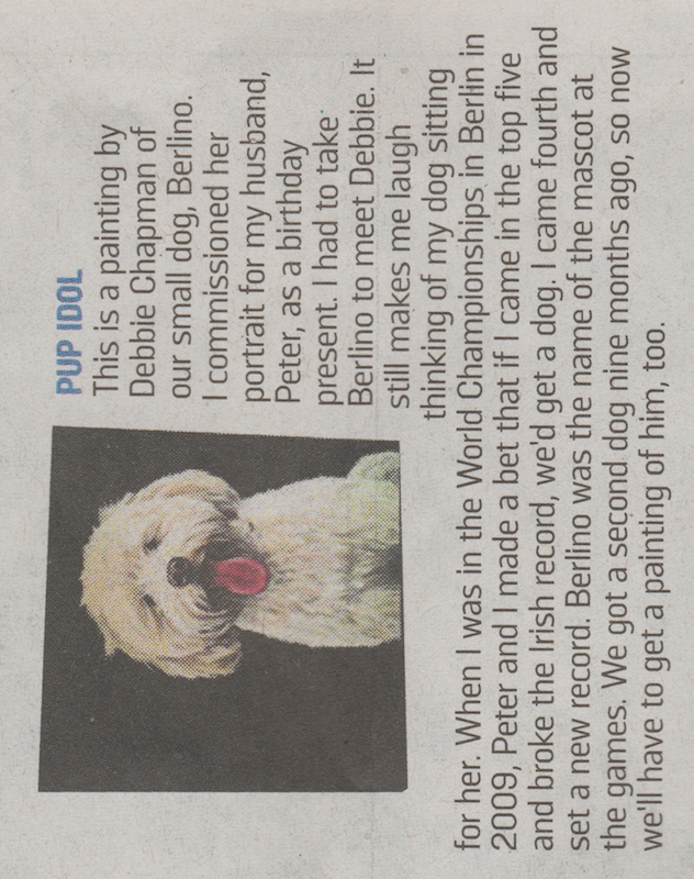 Derval O'Rourke Sunday Times w/ Berlino Dog Portrait by Debbie Chapman
