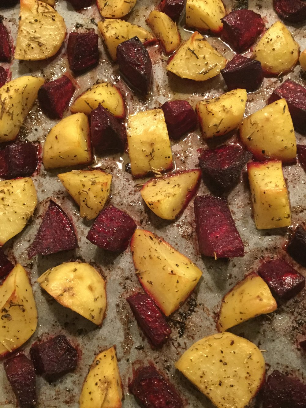 Oven roasted potatoes and beets from our garden