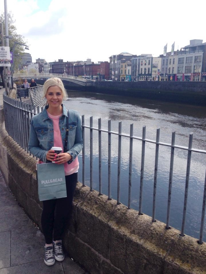 Posing for a pic by the Liffey