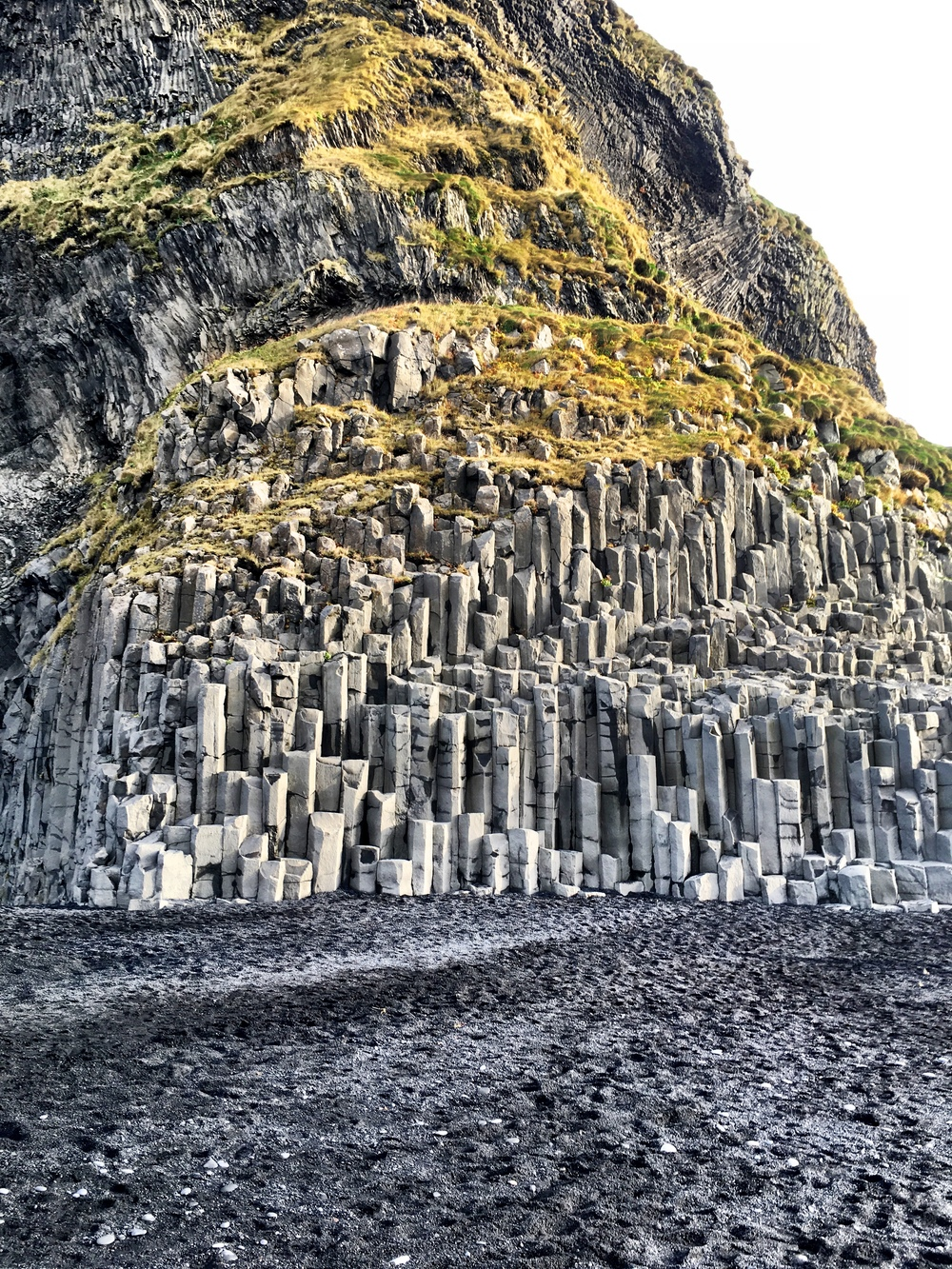 Rock formations on Vik's volcanic sand beach
