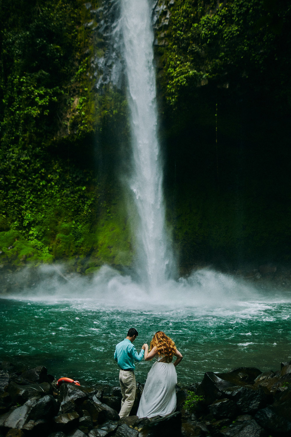 Engagement session at La Fortuna Waterfall, Costa Rica