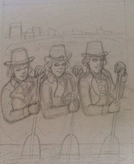 This version still cracks me up! I modeled the man on the right after Vincent Price, to give it more of a dark vibe, but the trio look as if they will break out in song at any moment. I suppose some people would find that terrifying!
