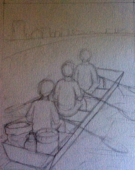 At one point, I had proposed this concept of three figures and the Dayton sky line in the background.