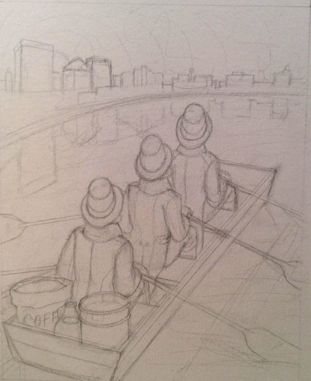 "The last design was too ""Little House on the Prairie,"" so I decided to revisit the men and the Dayton skyline. They just needed proper boating attire!"