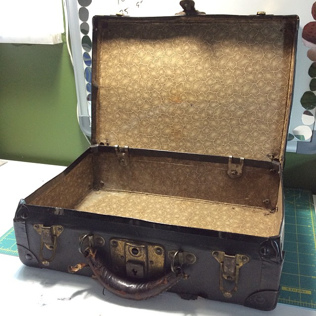 I plan to eventually sell these on my website and at art festivals. Currently, I am trying to keep up with the incoming orders (a nice problem to have!), so I am also working on displays and ways to sell them once I get enough made. Here is an old suitcase I found at a flea market in Michigan.