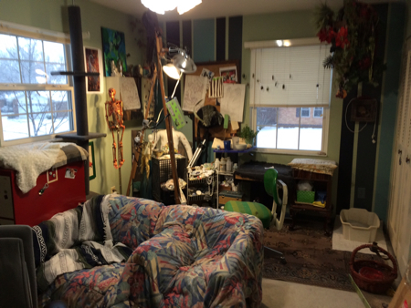 This is my studio before the rehab. Random cat beds, a litter box out in the open, and just plan disorder.