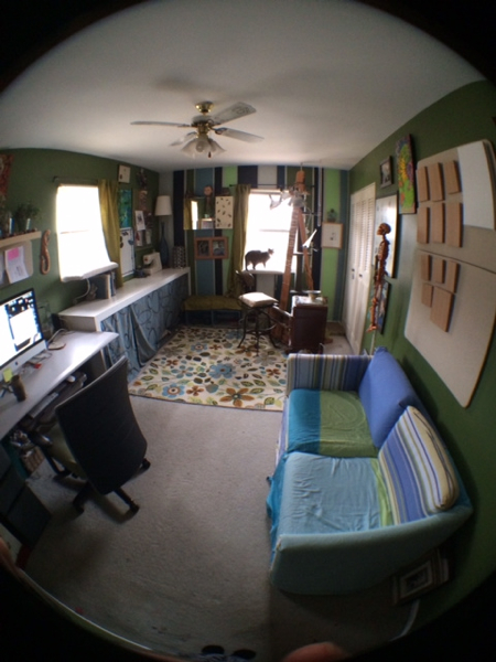 As you can see, rearranging the furniture was a major element to the project. Now the room is more open and inviting. The white interactive work station (desk) that was created for my Identification show at the University of Dayton now has a permanent home as workspace and storage space in the studio. The litter box is now located behind the curtain as well as my paints, with plenty of extra room.