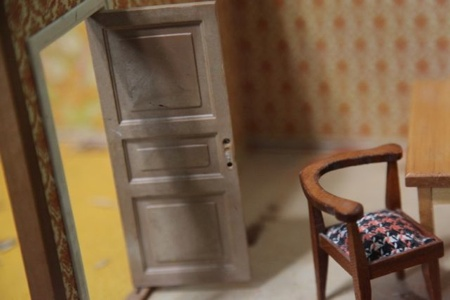 I began the search for the house structure immediately after talking to my sister about her ultrasound results. I had found various traditional Victorian and Suburban structures, but on April 27, 2012, I picked up aLundbyGothenburg dollhouse, circa mid 1970s, from a local collector/rehabber. She also threw in a table, corner chair and a side table for the $15 price.