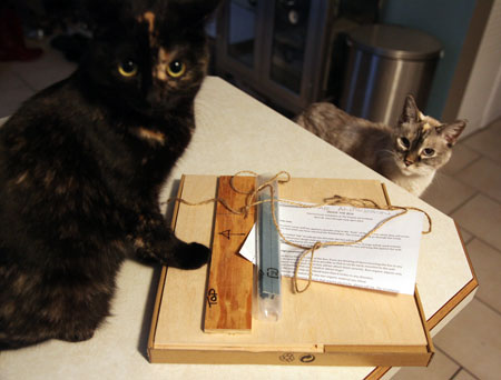Tobin and Swanky inspect the new package