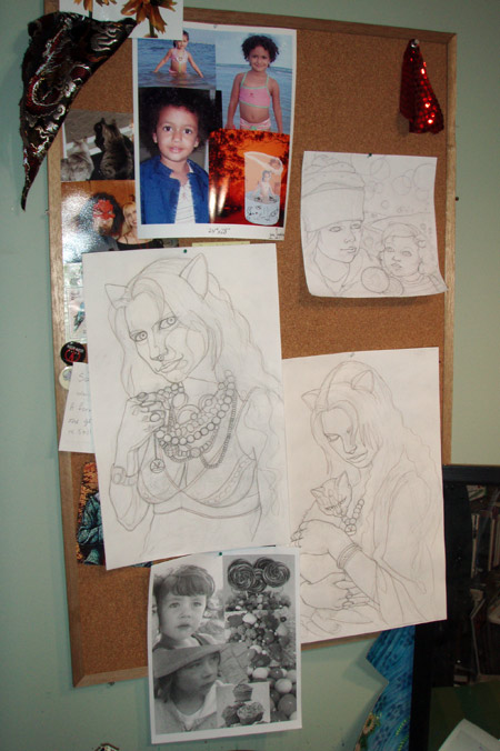 Drawing for Fructose up on the board along with some current and future projects.