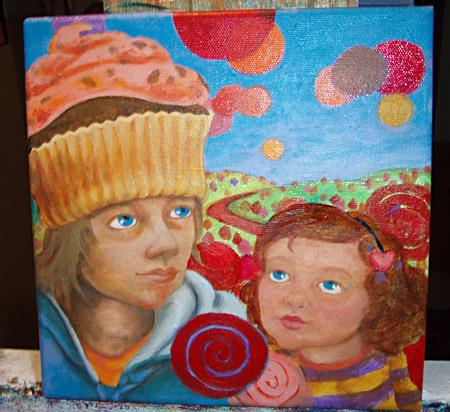 Added a few lollipops in the background, adding colors to the cupcake hat and overall skin tones.