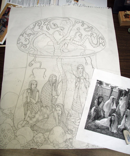 The drawing in progress with one of my reference photos.