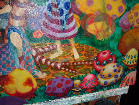 Close-up of detail work in lower right corner. Still figuring out how I want the shrooms to look.