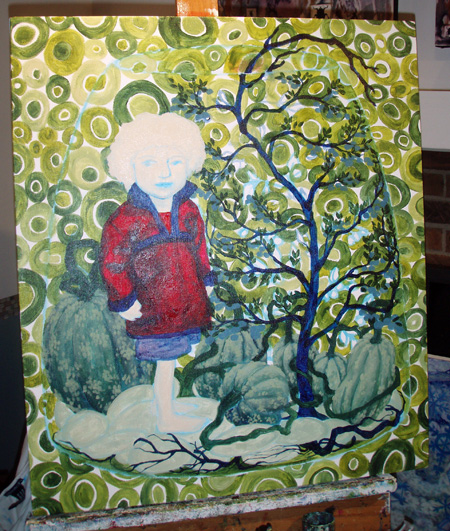 The figure in the painting is my nephew, Noah. His favorite color, like mine, is green, and I wanted green to play an important role in this piece.