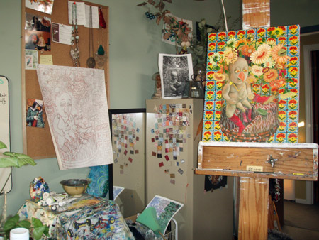 View of studio set-up. I have been using my original drawing for placement, and reference photo for values.