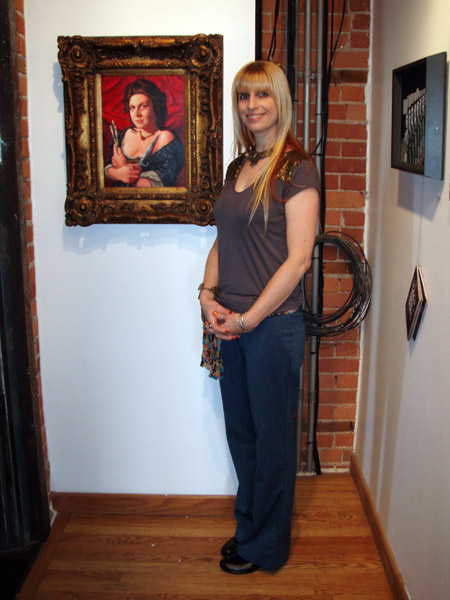 "Me standing in front of ""Artemisia, Artis Magistra (Mistress of Art)"" by Isabel Samaras. I have admired her work for a very long time, but this was the first time I got to see one in person. Now I am even more enamored with her work and super excited to get her book, ""On Tender Hooks."""