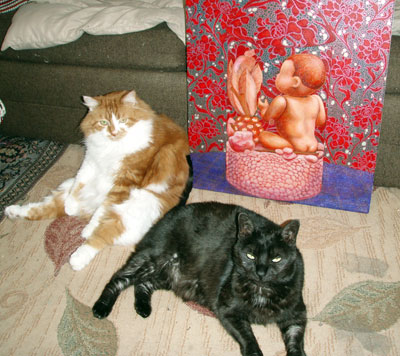 Gash and Ti hanging out with the painting in the studio.