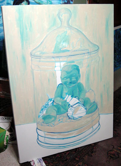 """Although this is the third painting in the Terrarium series, it is the first to showcase the doll side of the equation. I wanted this piece to really have a presence, so I stretched a 34"""" x 46"""" canvas and started by basically sketching the reference photo and blocking in a layer of color."""